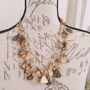 Brown Wood Bead Chip Necklace